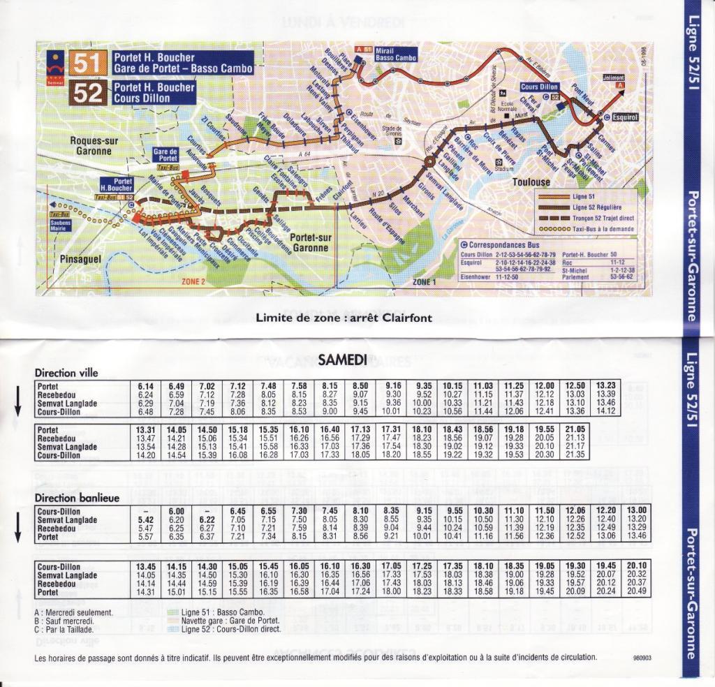 Midimobilit s consulter le sujet documentation semvat 1998 lignes 51 52 - Horaire cartreize ligne 51 ...