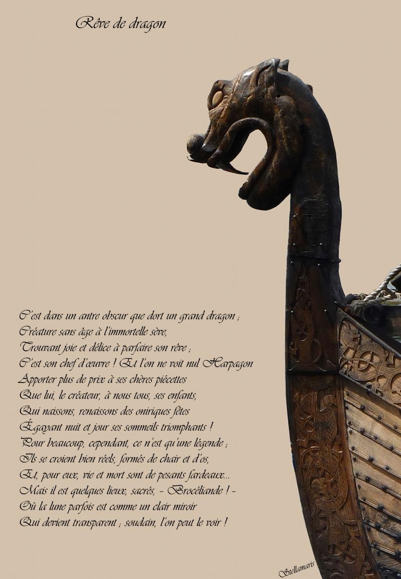 Rêve de dragon / / C'est dans un antre obscur que dort un grand dragon ; / Créature sans âge à l'immortelle sève, / Trouvant joie et délice à parfaire son rêve ; / C'est son chef d'œuvre ! Et l'on ne voit nul Harpagon / Apporter plus de prix à ses chères piécettes / Que lui, le créateur, à nous tous, ses enfants, / Qui naissons, renaissons des oniriques fêtes / Égayant nuit et jour ses sommeils triomphants ! / Pour beaucoup, cependant, ce n'est qu'une légende ; / Ils se croient bien réels, formés de chair et d'os, / Et, pour eux, vie et mort sont de pesants fardeaux... / Mais il est quelques lieux, sacrés, – Brocéliande ! – / Où la lune parfois est comme un clair miroir / Qui devient transparent ; soudain, l'on peut le voir ! / / Stellamaris
